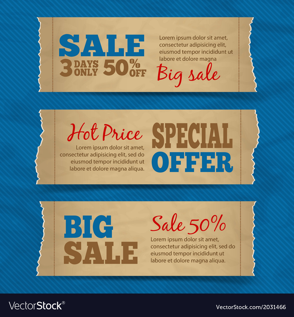 Cardboard sale banners set vector | Price: 1 Credit (USD $1)