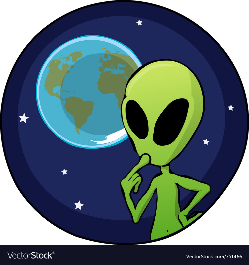 Cartoon alien overlooking planet earth vector | Price: 1 Credit (USD $1)