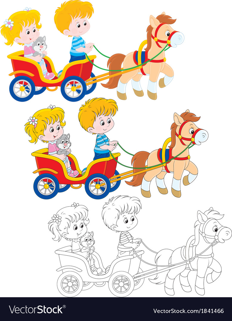 Children riding a pony vector | Price: 1 Credit (USD $1)