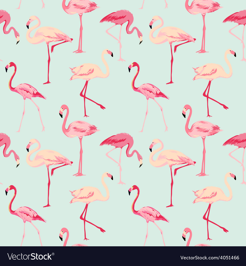 Flamingo bird background  retro seamless pattern vector