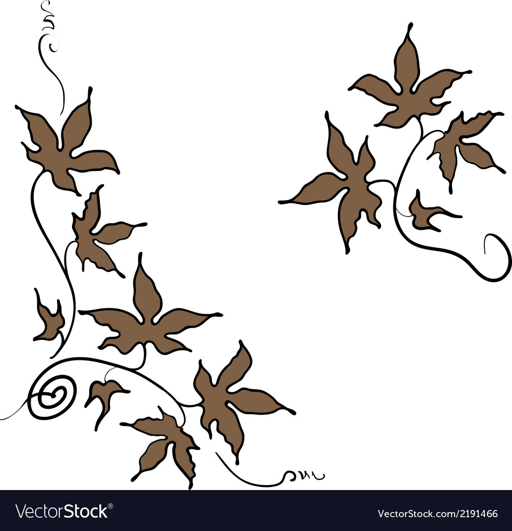 Floral ornament elements of leaves in hand drawn vector | Price: 1 Credit (USD $1)