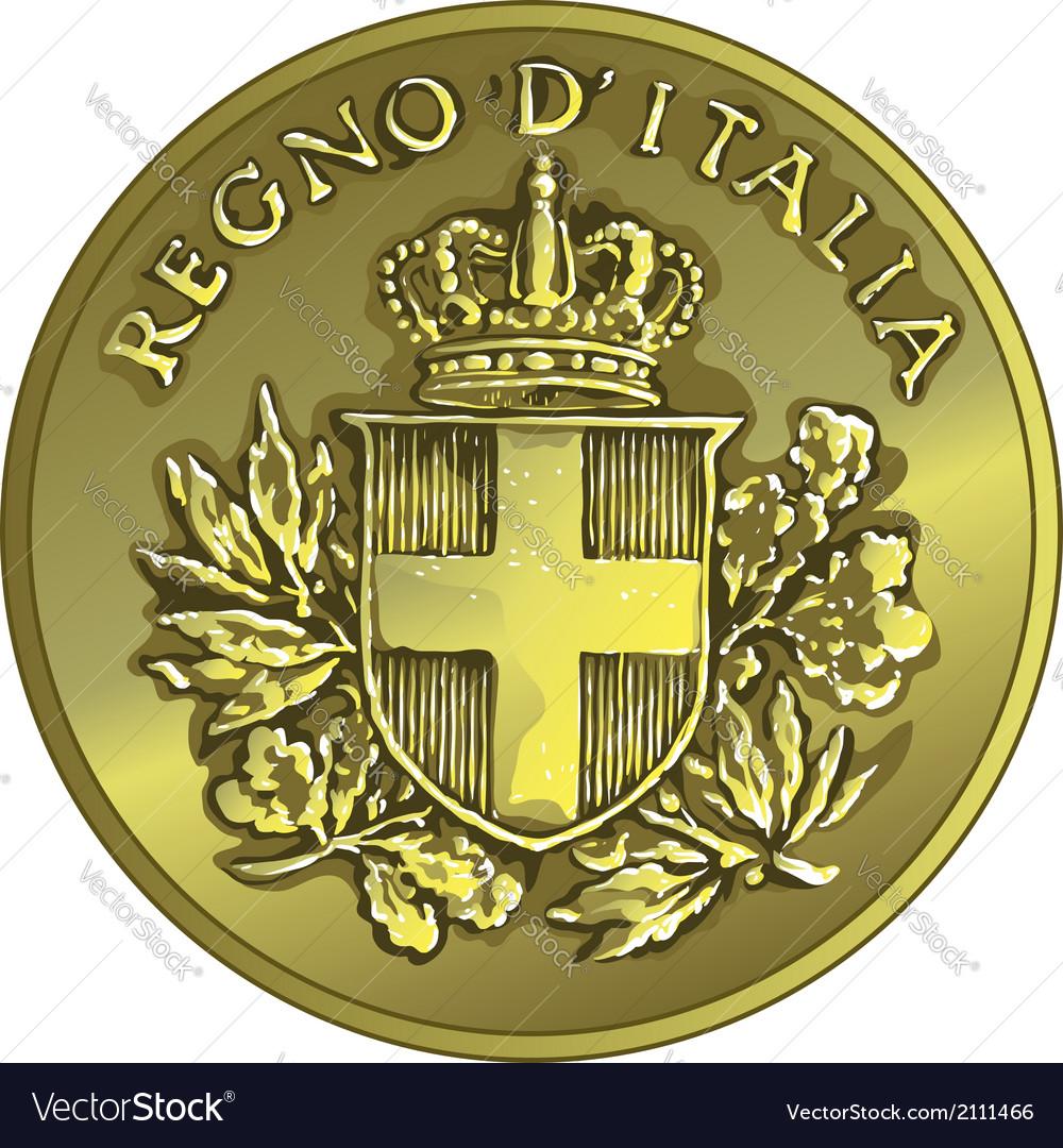 Money gold italian coin twenty centesimo vector | Price: 1 Credit (USD $1)