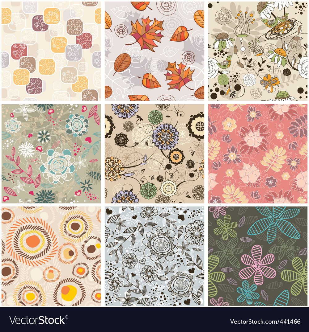 Set of seamless floral background vector | Price: 1 Credit (USD $1)