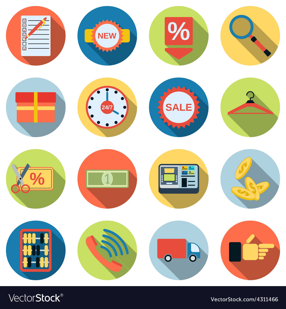 Shopping flat icons vector   Price: 1 Credit (USD $1)