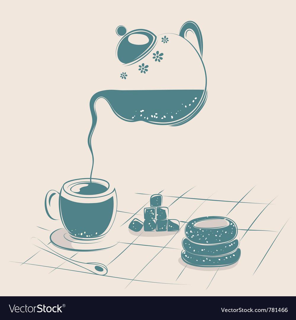 Tea drinking vector | Price: 1 Credit (USD $1)