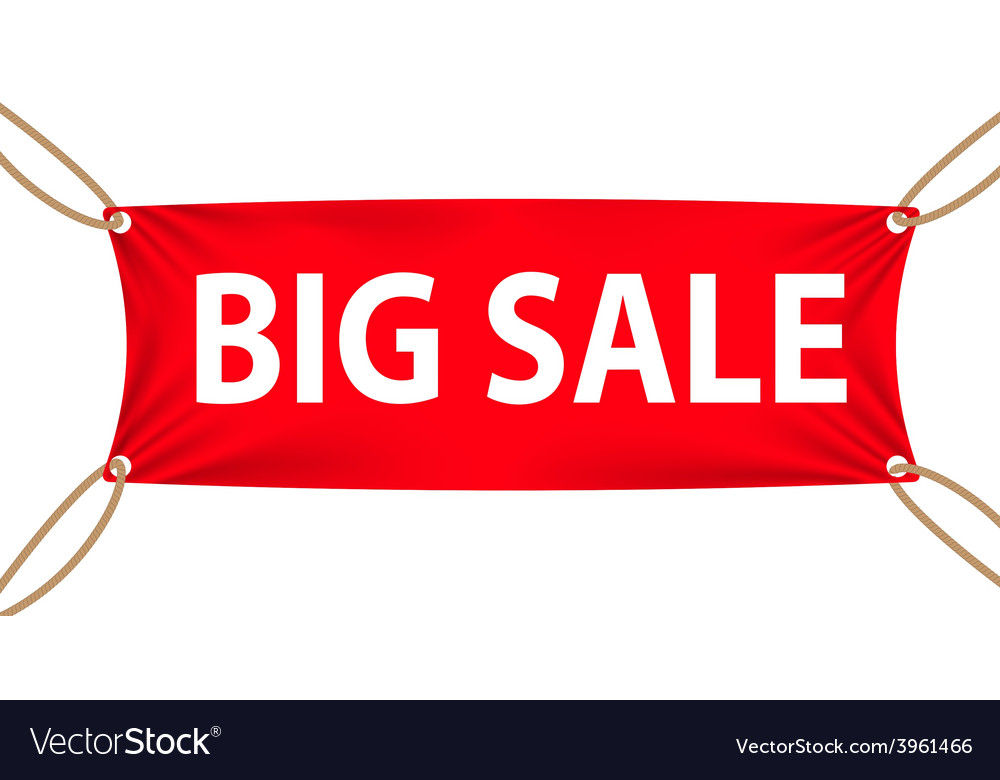 Textile banners with big sale text suspended by vector | Price: 1 Credit (USD $1)