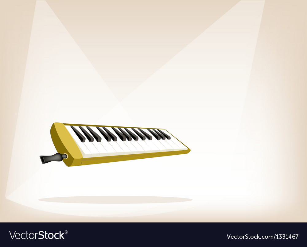A musical melodica on brown stage background vector | Price: 1 Credit (USD $1)