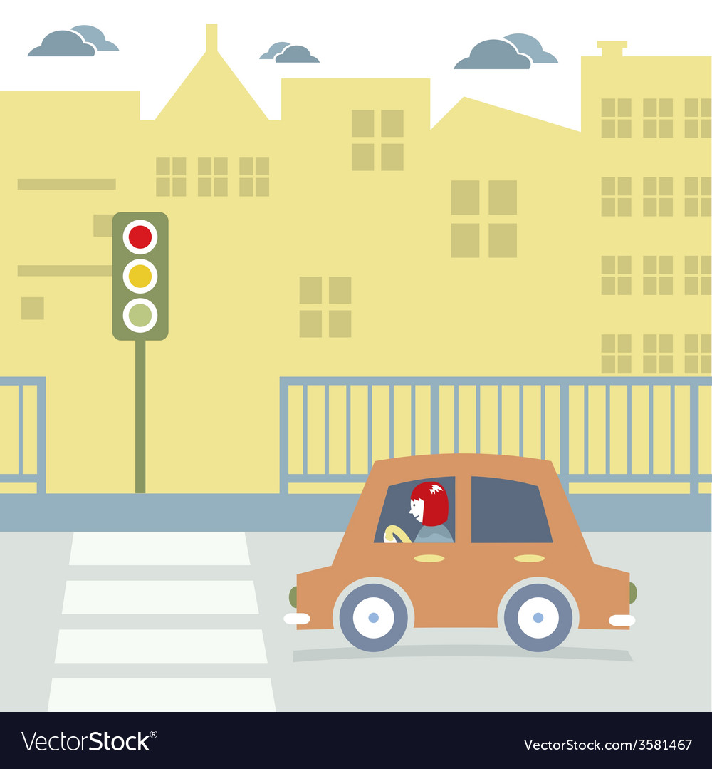 Car stopped at the crosswalk vector | Price: 1 Credit (USD $1)