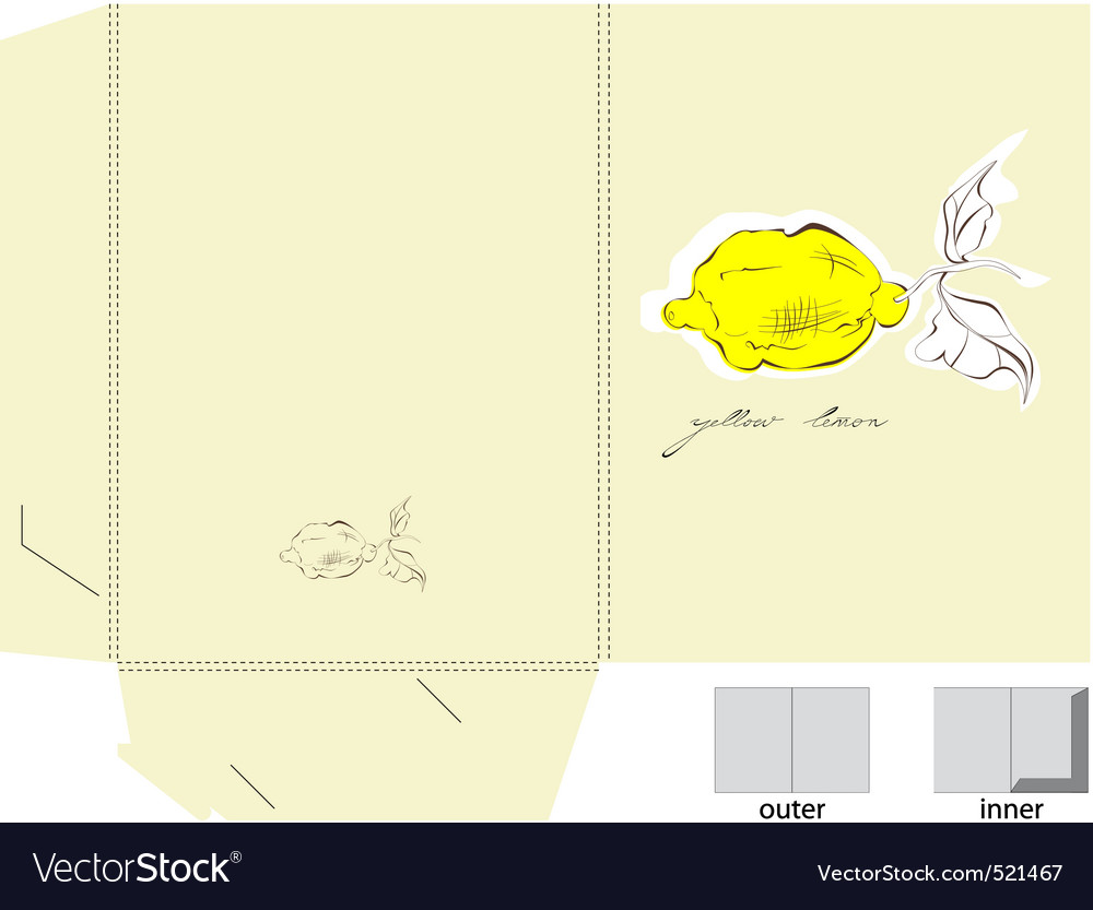 Decorative folder with a yellow lemon vector | Price: 1 Credit (USD $1)