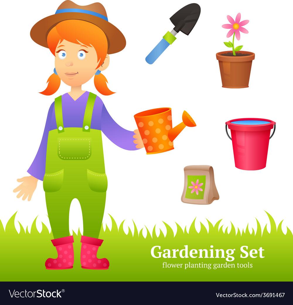 Farmer woman set vector | Price: 1 Credit (USD $1)
