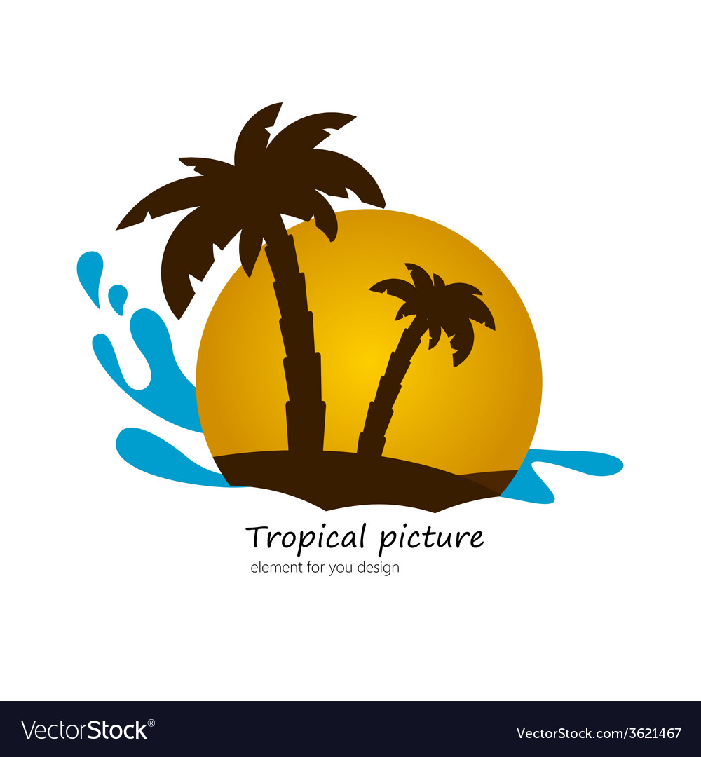 Flat picture palm on island sunset landscape vector | Price: 1 Credit (USD $1)