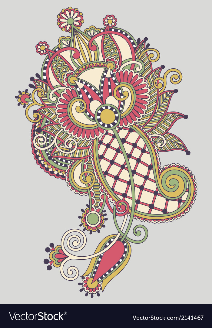 Line art ornate flower design vector   Price: 1 Credit (USD $1)