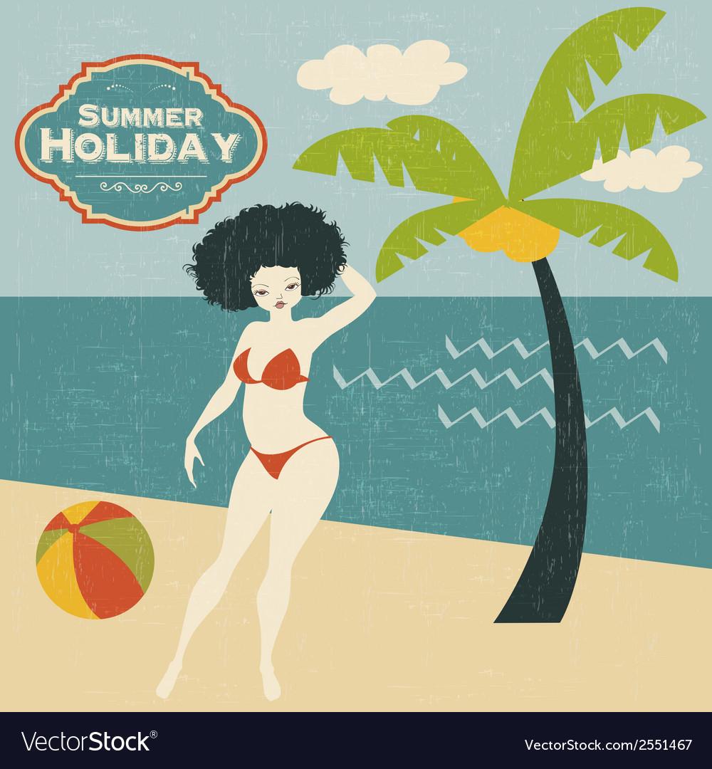 Retro woman on the beach vector | Price: 1 Credit (USD $1)