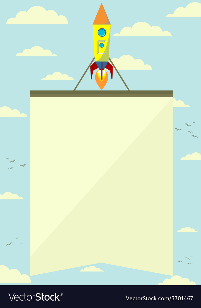 Space rocket with a banner flying upwards vector | Price: 1 Credit (USD $1)