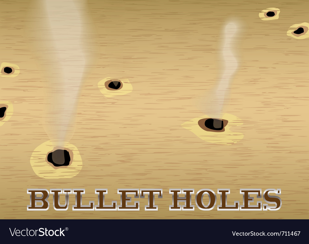 Wood sign with smoking bullet holes vector | Price: 1 Credit (USD $1)