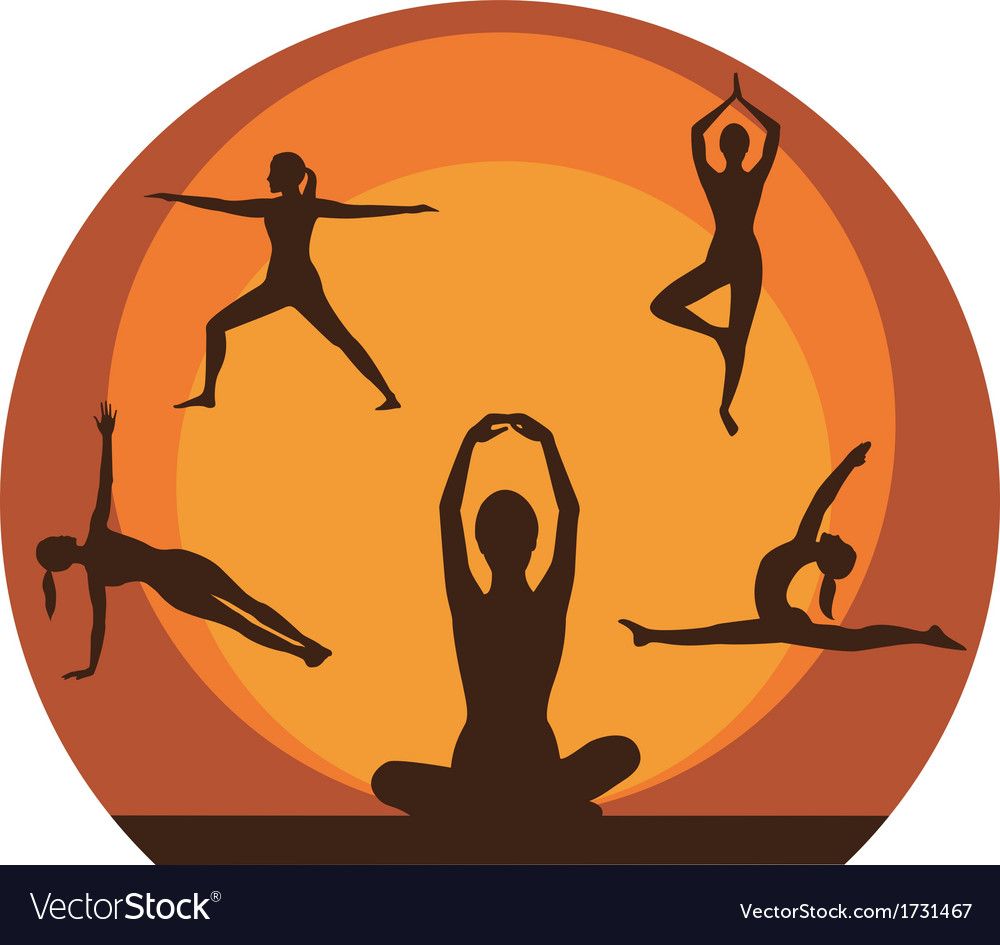 Yoga women silhouette vector | Price: 1 Credit (USD $1)