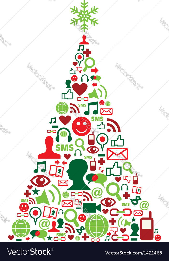 Christmas tree with social media icons vector   Price: 1 Credit (USD $1)