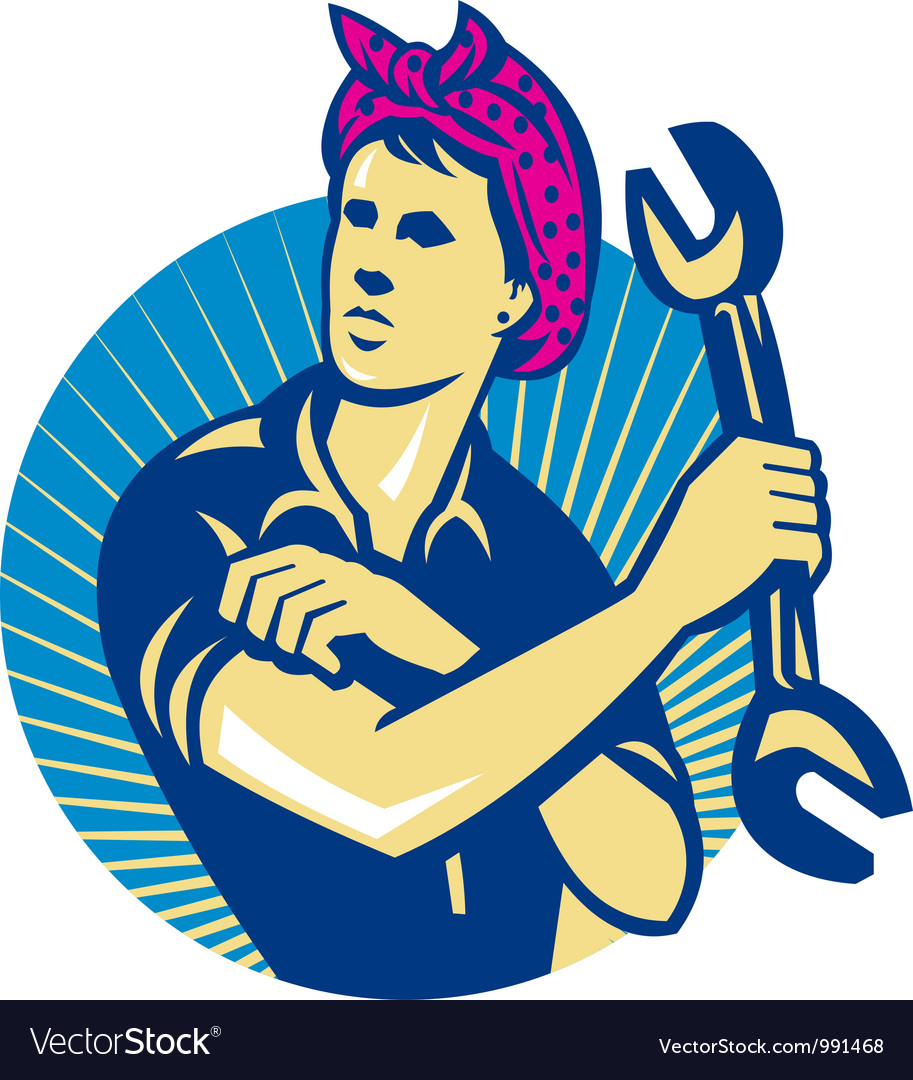 Female mechanic worker with spanner retro vector | Price: 1 Credit (USD $1)