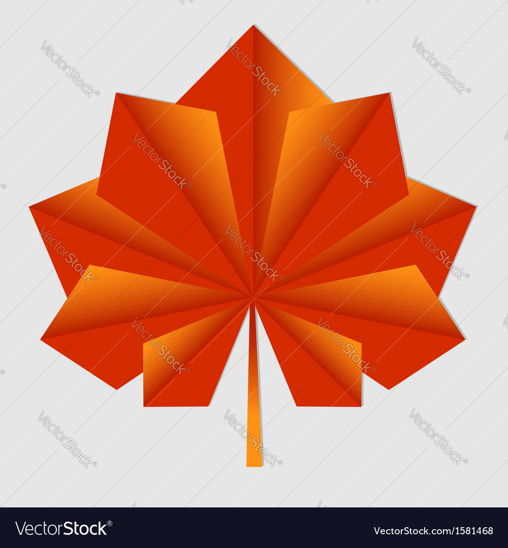 Maple origami orange leaf vector | Price: 1 Credit (USD $1)