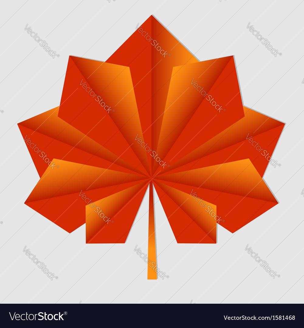 Maple origami orange leaf vector | Price: 1 Credit (USD $1)