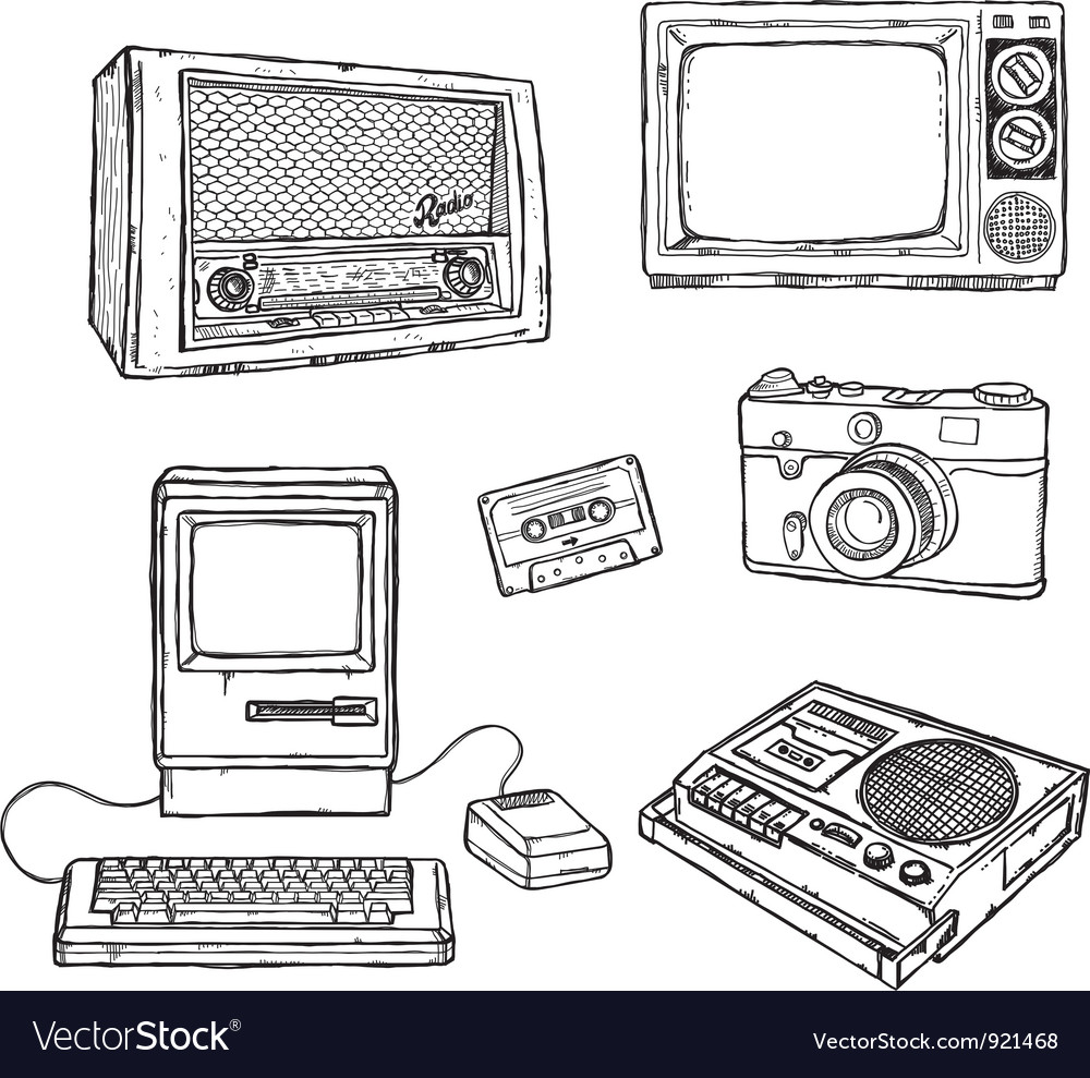 Old media equipment vector | Price: 1 Credit (USD $1)