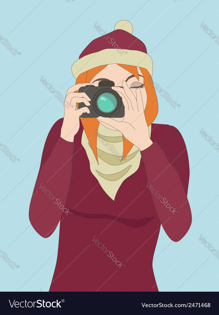 Photographer girl clicking on a cameras button vector | Price: 1 Credit (USD $1)