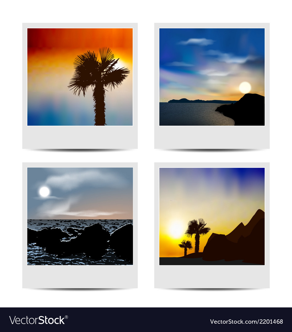 Set photo frames with beaches vector | Price: 1 Credit (USD $1)
