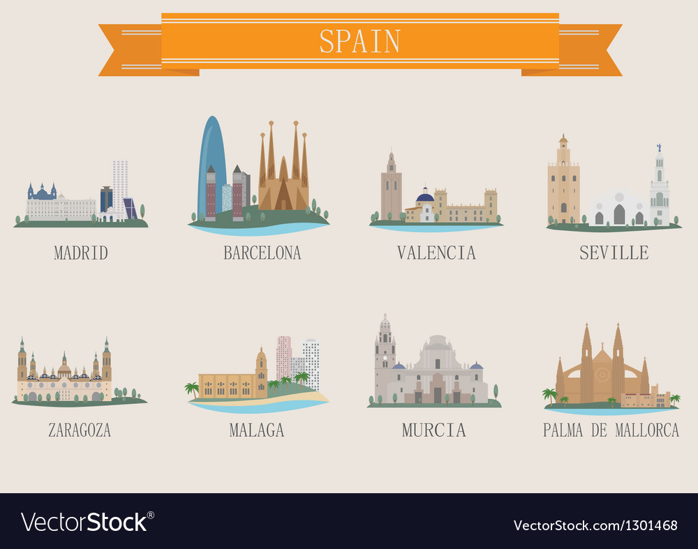 Spain city vector | Price: 1 Credit (USD $1)