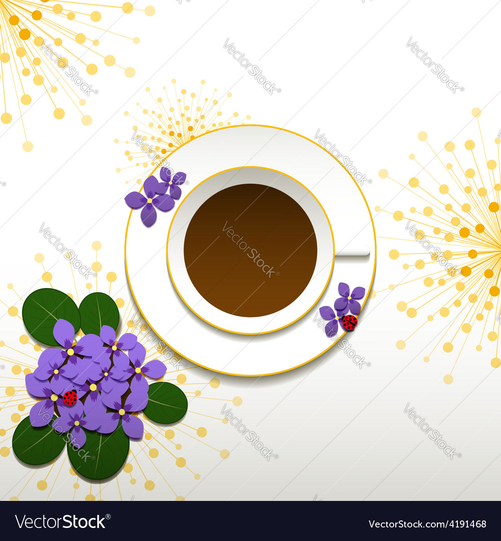 Springtime african violet and cup of coffee vector | Price:  Credit (USD $)