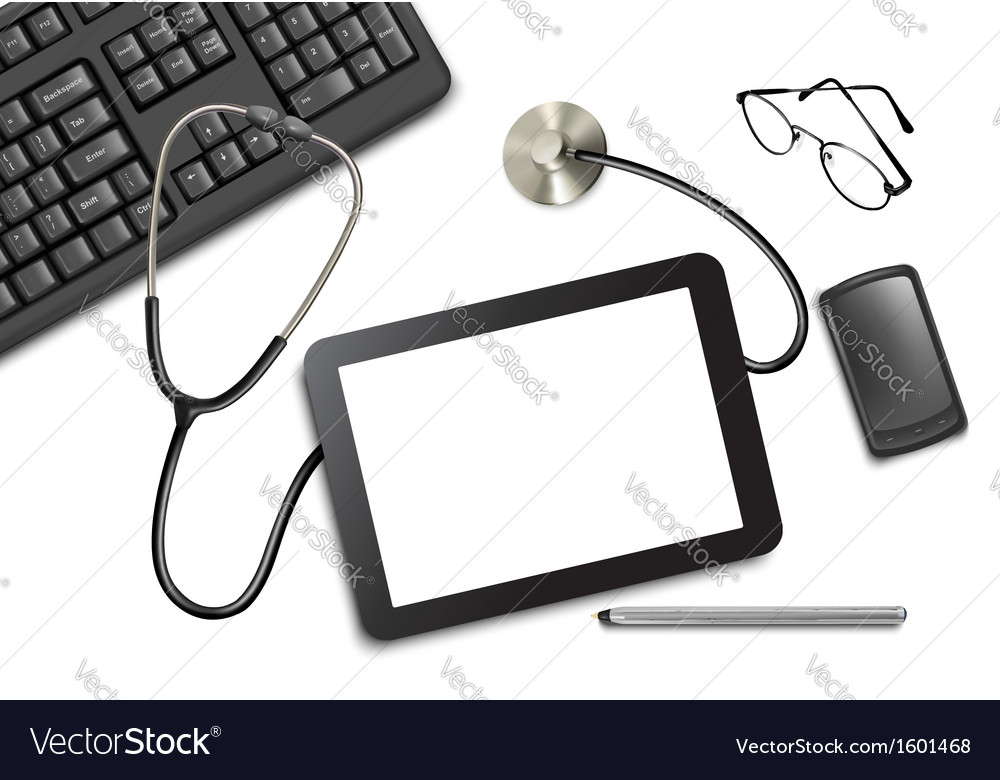 Tablet touch pad and office supplies on the table vector | Price: 1 Credit (USD $1)