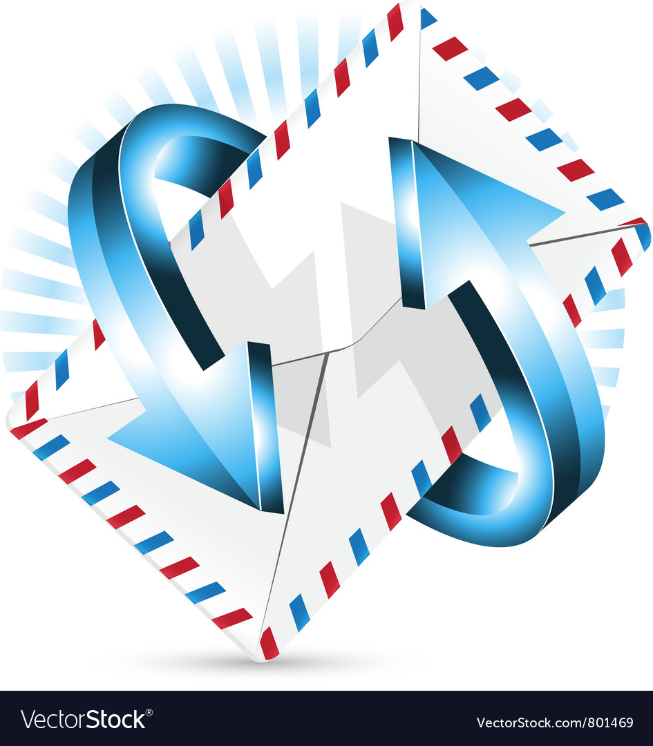 Arrow around postal envelope vector | Price: 1 Credit (USD $1)