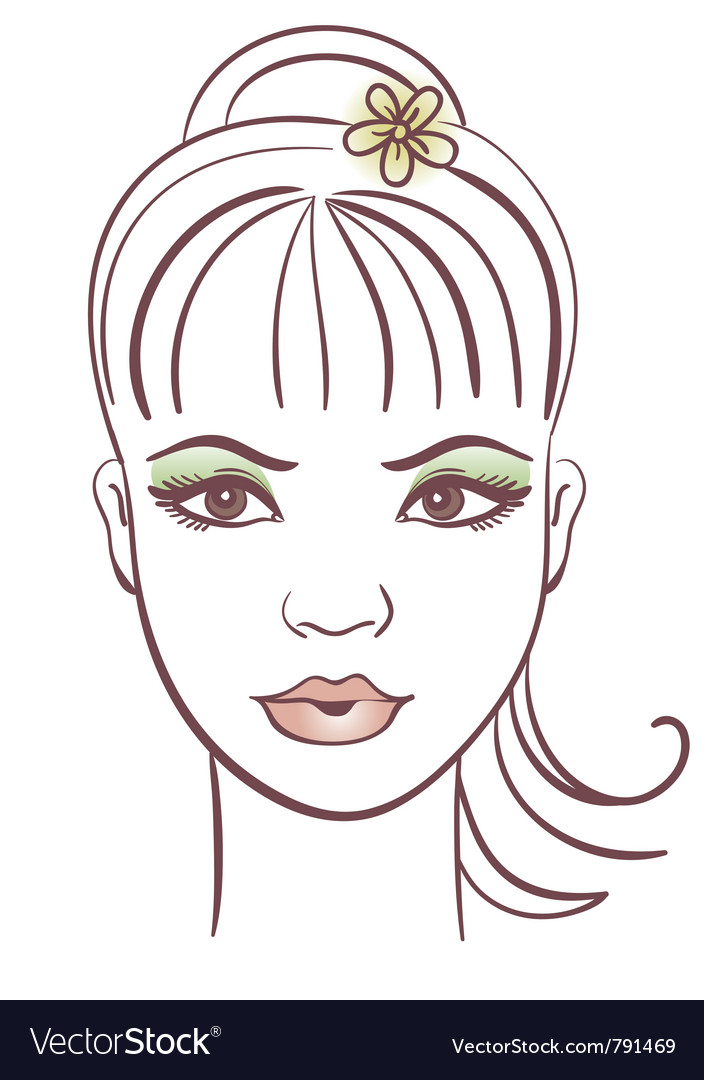 Beautiful woman portrait linear vector | Price: 1 Credit (USD $1)