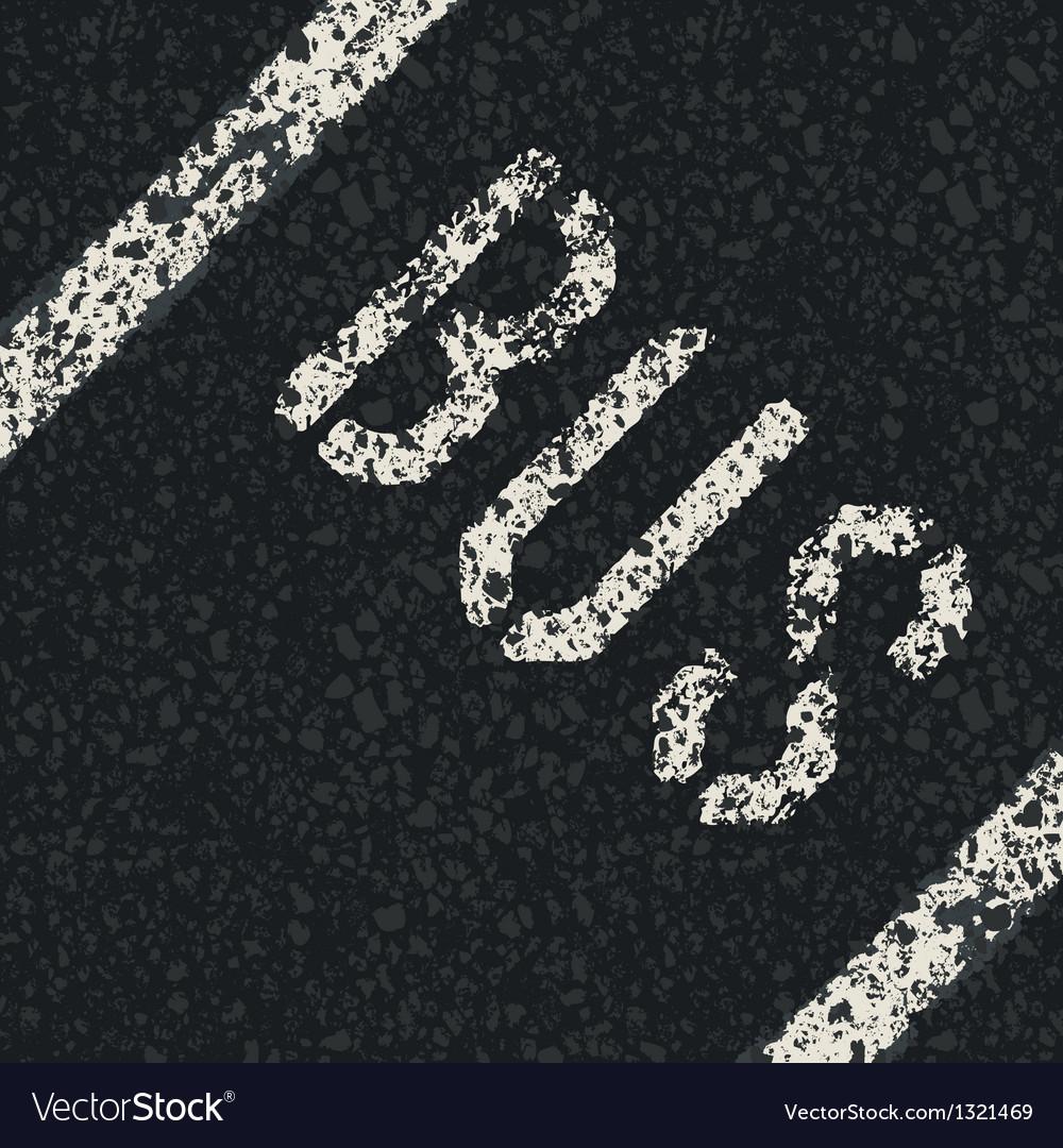 Bus sign on asphalt vector | Price: 1 Credit (USD $1)