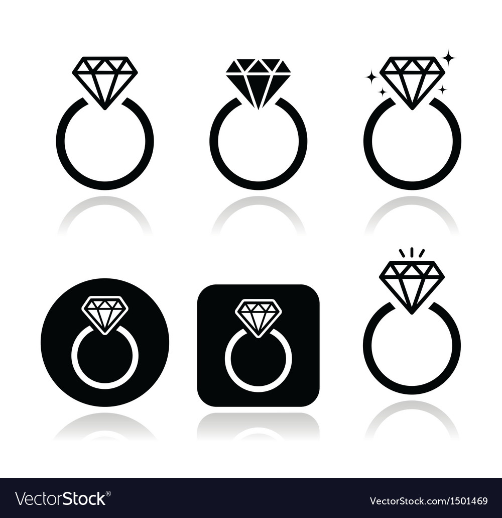 Diamond engagement ring icon vector | Price: 1 Credit (USD $1)