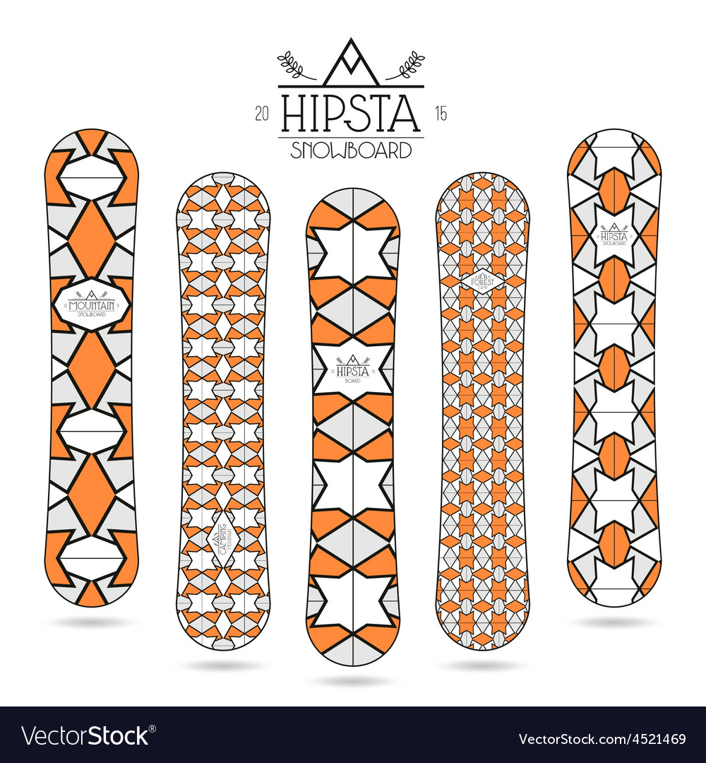 Hipster print for snowboard vector | Price: 1 Credit (USD $1)