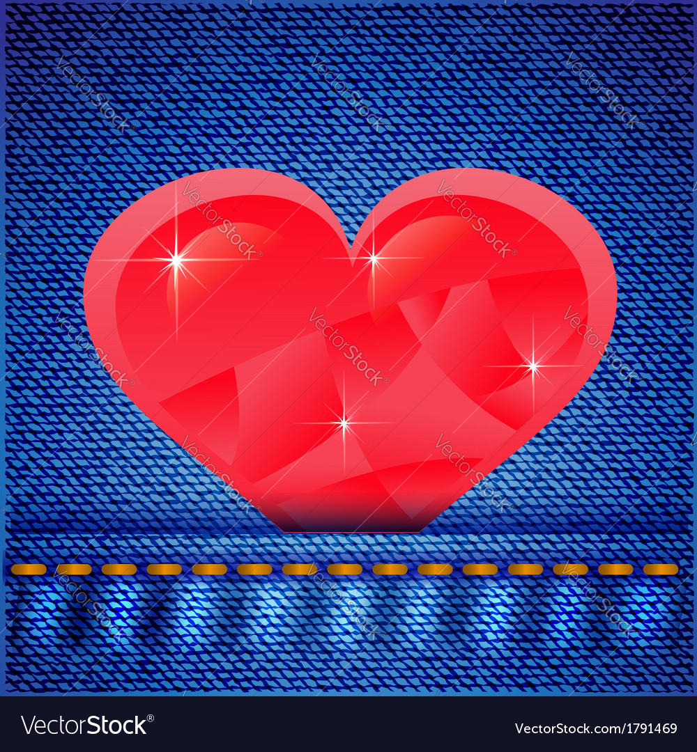 Jeans background with heart vector | Price: 1 Credit (USD $1)