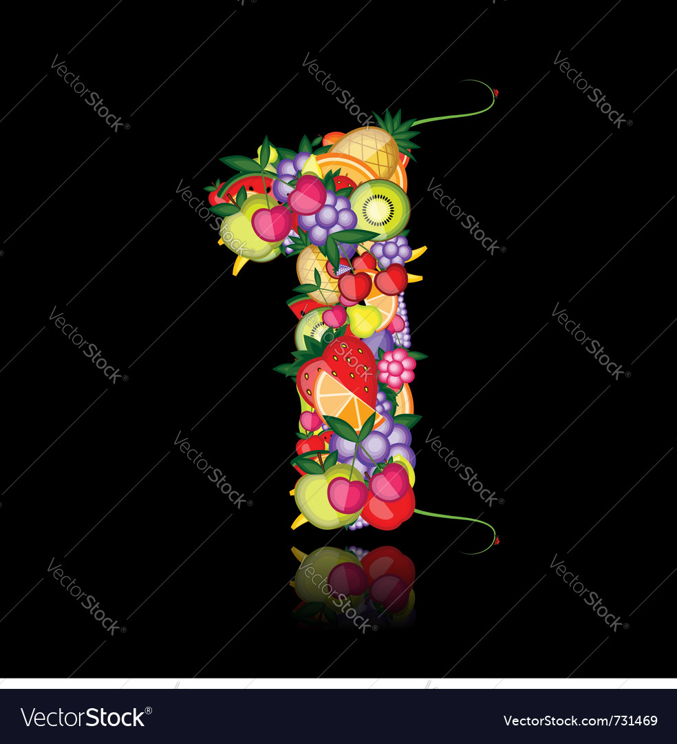 Number one made from fruits vector | Price: 1 Credit (USD $1)