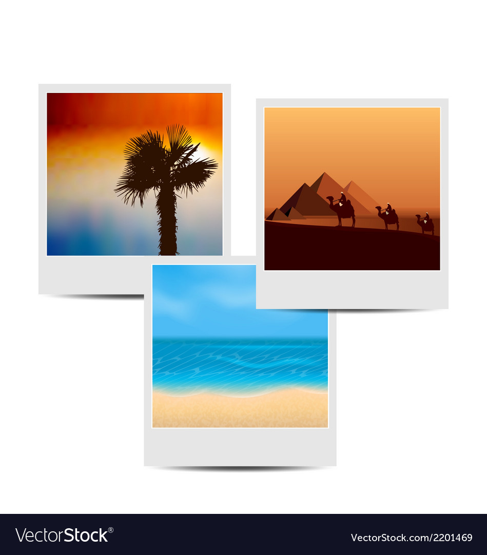 Photoframes with summertime background vector | Price: 1 Credit (USD $1)