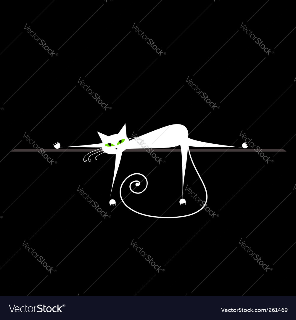 Relax white cat on black for your design vector | Price: 1 Credit (USD $1)