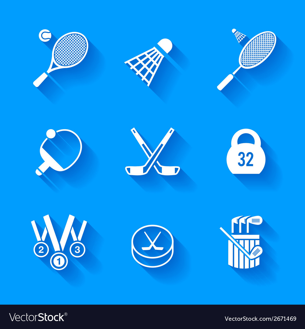 Set of white sports icons vector | Price: 1 Credit (USD $1)