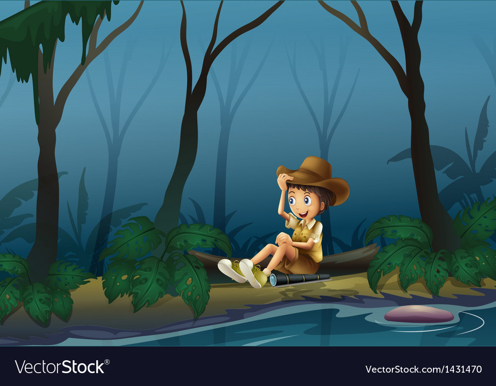 A male explorer relaxing near the riverbank vector | Price: 1 Credit (USD $1)