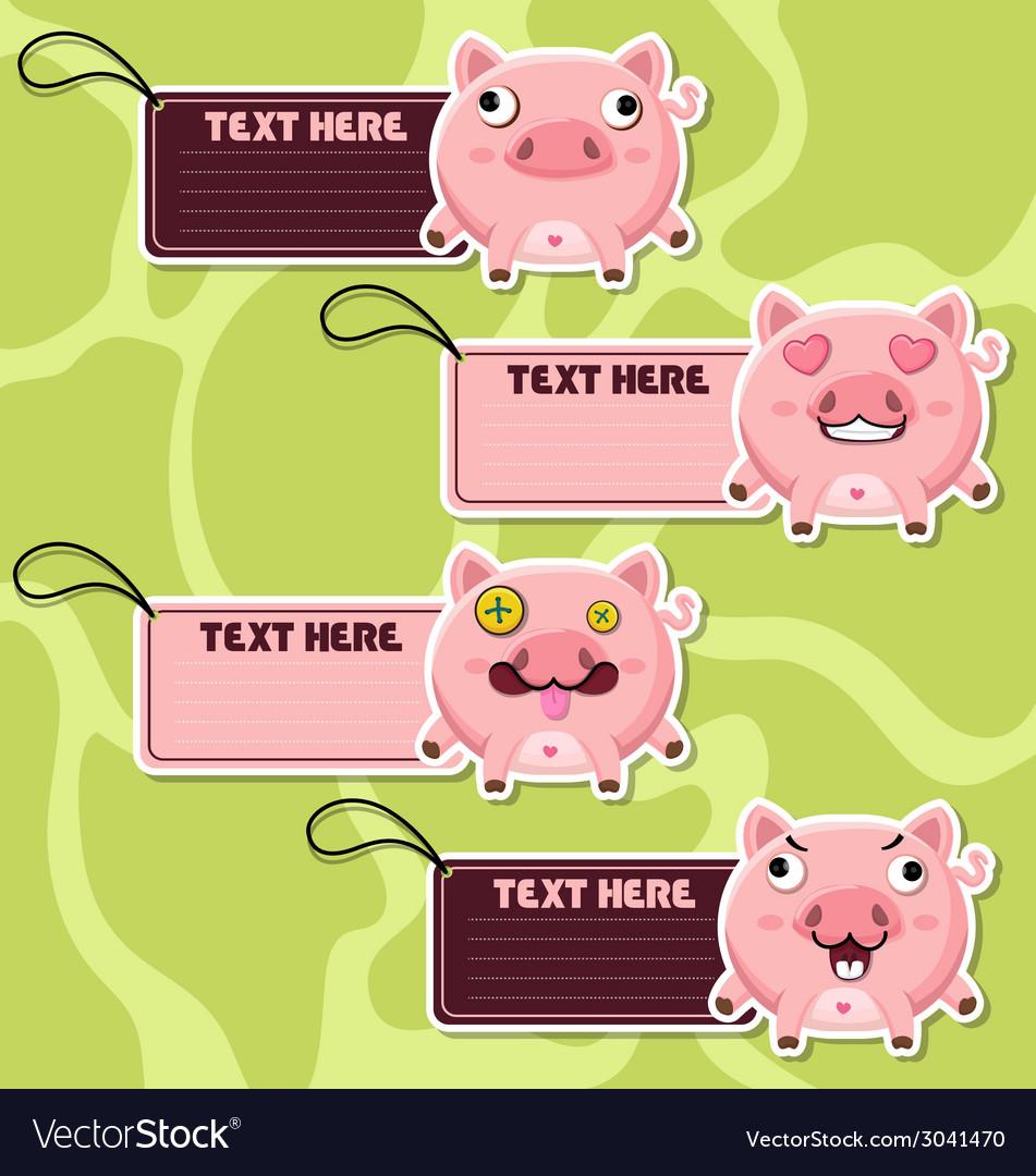 Four cute cartoon pigs stickers vector