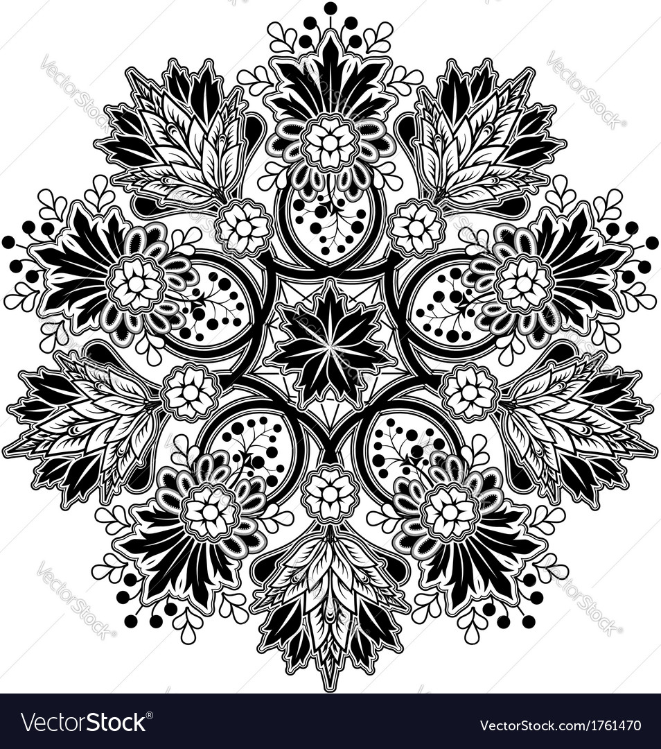 Radial geometric floral ornament vector | Price: 1 Credit (USD $1)
