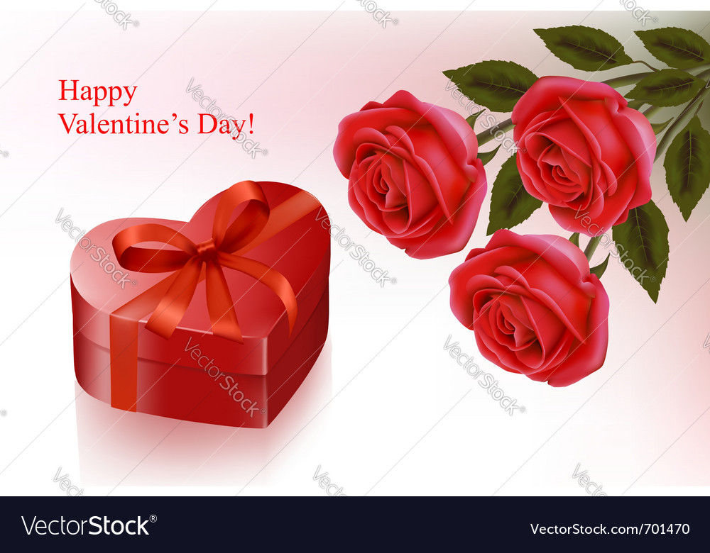 Red roses and gift red box vector | Price: 1 Credit (USD $1)