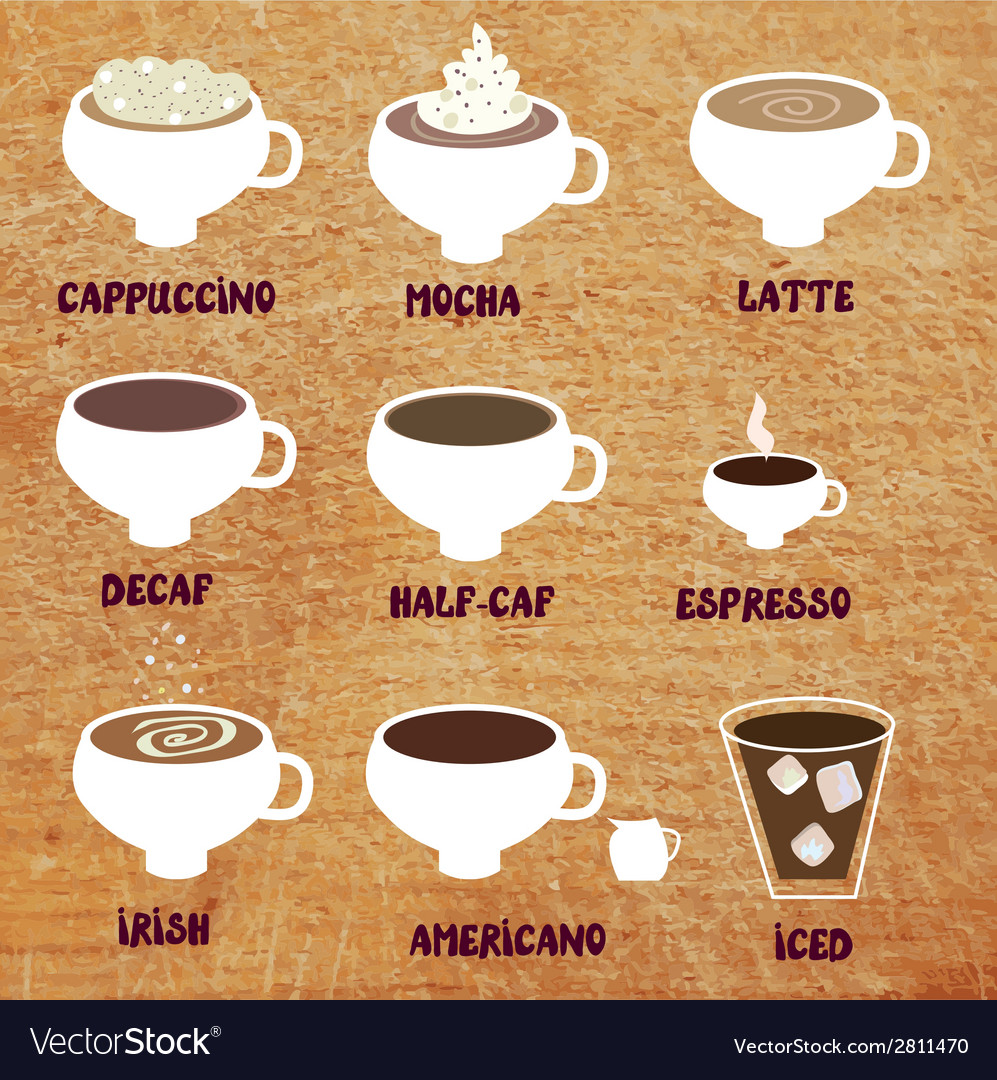 Types of coffee - funny menu vector | Price: 1 Credit (USD $1)