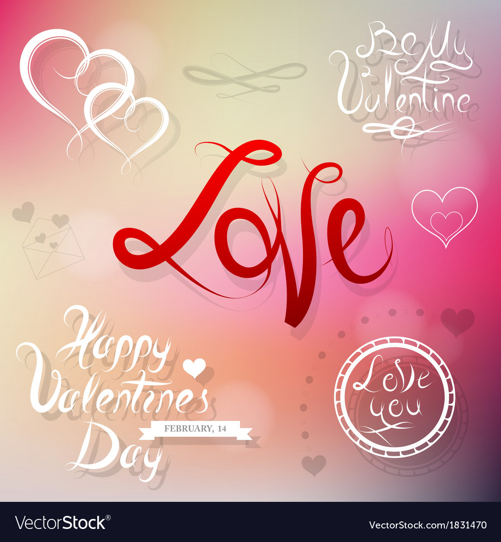 Valentines elements for greeting card vector | Price: 1 Credit (USD $1)