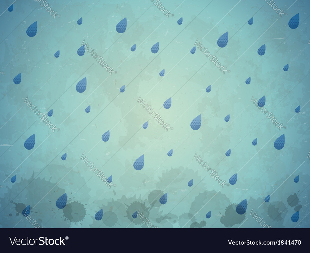 Vintage aged card with blue rain drops vector | Price: 1 Credit (USD $1)