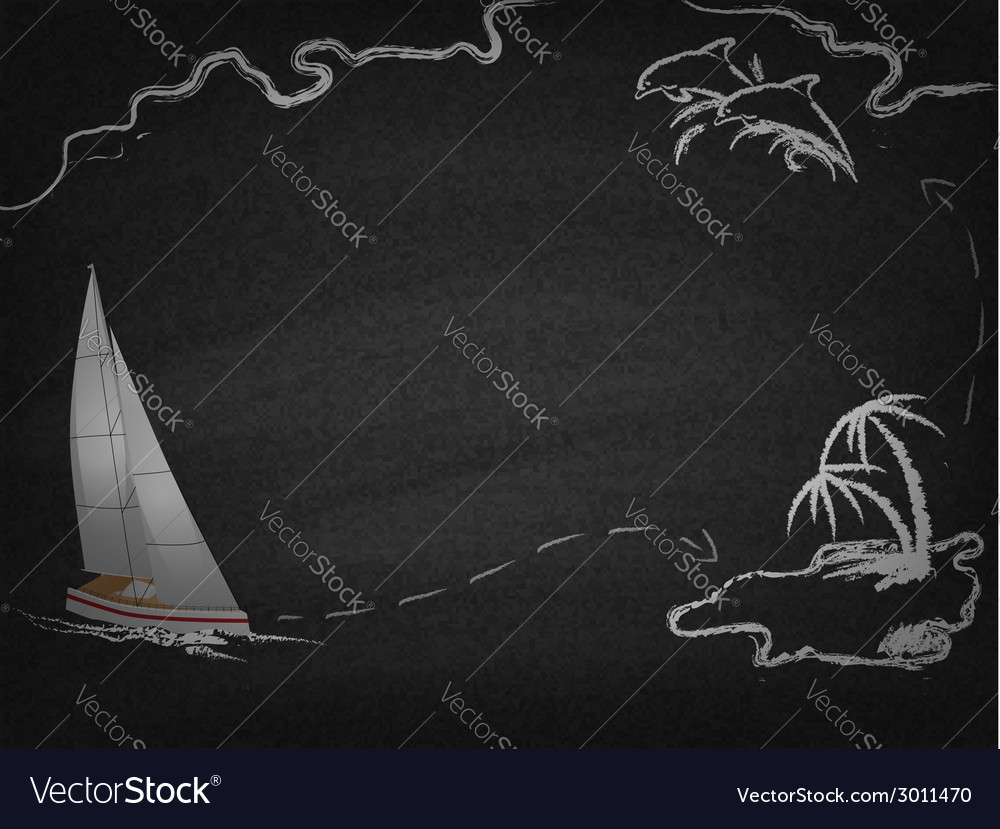 Yacht in ocean drawn on blackboard vector | Price: 1 Credit (USD $1)