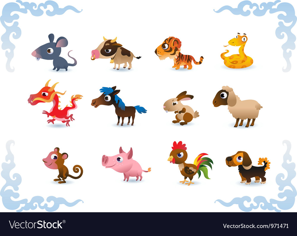 Animals symbols of chinese horoscope vector | Price: 3 Credit (USD $3)