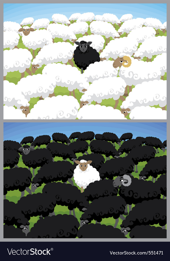 Black sheep vector | Price: 3 Credit (USD $3)